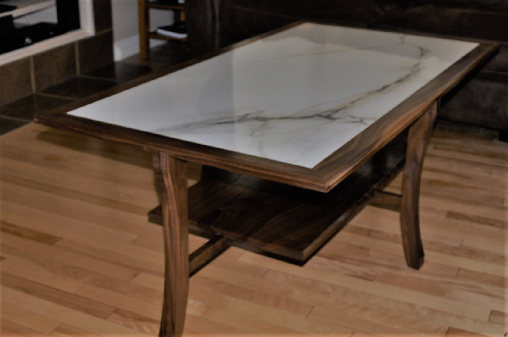 Custom Made Solid Walnut And Ceramic Coffee Table Legacy Restorations